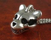 "Teddy Bear Skull Necklace Antique Silver Teddy Bear Skull Pendant on 24"" Antique Silver Chain"