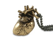 """Anatomical Heart Necklace Bronze Anatomical Heart Pendant on 24"""" Gunmetal Chain"""