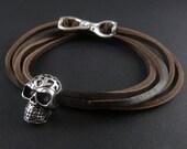 Skull Bracelet Antique Silver Tribal Human Skull Leather Bracelet - Skull Jewelry