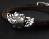 Flying Pig Bracelet Antique Silver Flying Pig Leather Bracelet