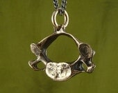 "Vertebrae Necklace Bronze Human Vertebra Pendant on 24"" Gunmetal Chain - Anatomical Jewelry"