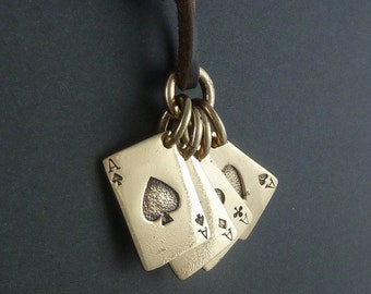 Playing Cards Necklace Bronze Aces Pendant on Leather