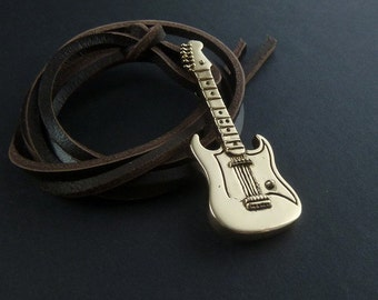 Guitar Necklace Fender - Bronze Pendant on Leather