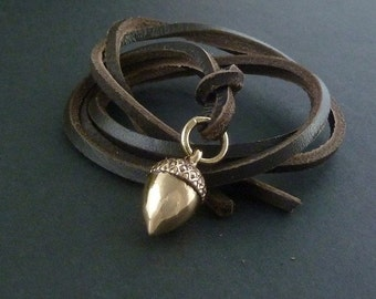 Acorn Necklace Bronze Acorn Pendant on Leather
