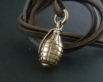 Grenade Necklace Bronze Hand Grenade Pendant on Leather