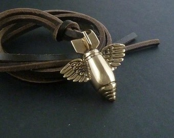 Bomb Necklace Bronze Flying Bomb Pendant on Leather - Army Necklace