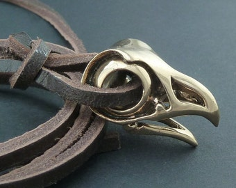 Bird Skull Necklace Bronze Eagle Skull Pendant on Leather