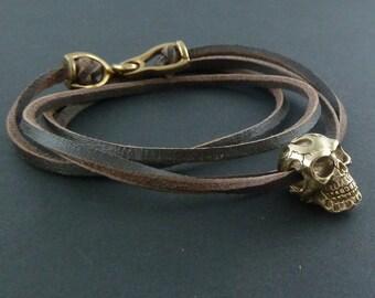 Skull Bracelet - Bronze Flaming Skull on Leather Bracelet