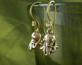Octopus Earrings Bronze Octopus Earrings