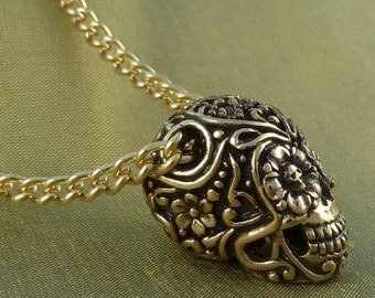 "Dia de los Muertos Day of the Dead Necklace - Bronze Sugar Skull Pendant, on 24"" Gold Plated Chain"