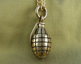"Grenade Necklace Bronze Hand Grenade Pendant on 24"" Gold Plated Chain"