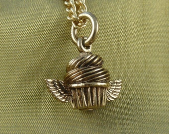 """Cupcake Necklace Bronze Flying Cupcake Pendant on 24"""" Gold Plated Chain"""
