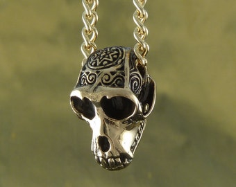 "Monkey Necklace - Bronze Monkey Skull Pendant on 24"" Gold Plated Chain"
