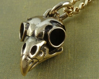 "Bird Skull Necklace Bronze Owl Skull Pendant on 24"" Gold Plated Chain"