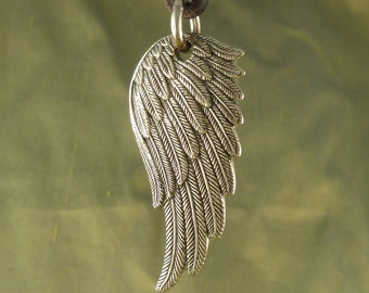 Angel Wing Necklace Bronze Angel Wing Pendant on Leather