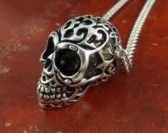 "Day of the Dead Skull Necklace with Tribal Motif, Antique Silver on 18"" Antique Silver Chain"