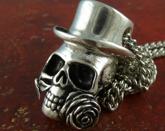 "Steampunk Necklace Steampunk Skull Antique Silver Skull Pendant on 18"" Antique Silver Chain"