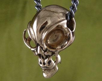 """Alien Jewelry - Alien Necklace Alien Skull Necklace Bronze Alien Skull Pendant on 32"""" Gunmetal Chain"""