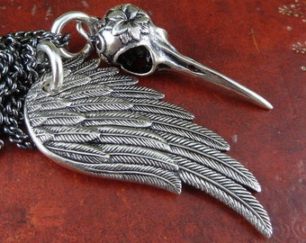 "Gothic Necklace Hummingbird Skull & Angel Wing Antique Silver Pendant on 24"" Gunmetal Chain"