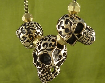 "Skull Necklace Bronze Tribal Skull Necklace on 18"" Antique Bronze Chain - Biker Necklace"