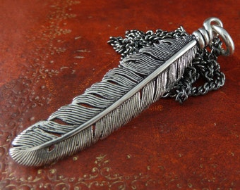 "Silver Feather Necklace - Antique Silver Feather Pendant on 24"" Gunmetal Chain"