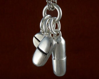 """Pill Necklace Antique Silver Pill Pendant Necklace on 24"""" Antique Silver Chain"""