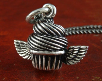 "Cupcake Jewelry Antique Silver Cupcake Pendant Necklace on 18"" Gunmetal Chain"