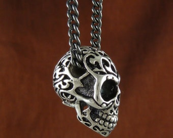 "Skull Pendant Necklace Antique Silver Tribal Skull Necklace on 24"" Gunmetal Chain"