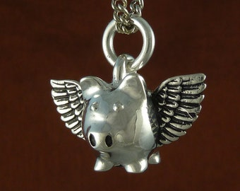 "Flying Pig Necklace Antique Silver Large Flying Pig Pendant on 24"" Antique Silver Chain"