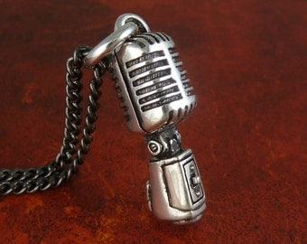 """Microphone Necklace Antique Silver Microphone Pendant on 24"""" Gunmetal Chain"""