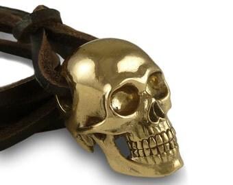 Skull Jewelry - Human Skull Necklace Bronze Human Skull Pendant on Leather