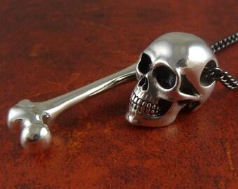 "Human Skull & Femur Bone Necklace Antique Silver Skull and Bone Pendant on 24"" Gunmetal Chain"
