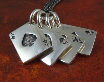 """Playing Cards Necklace Antique Silver Aces Pendant on 24"""" Gunmetal Chain"""