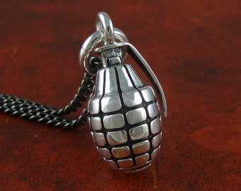"Grenade Necklace Antique Silver Hand Grenade Pendant on 24"" Gunmetal Chain"