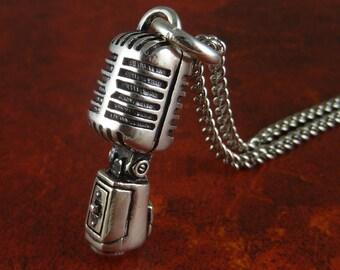 "Rockabilly Necklace Microphone Antique Silver Microphone Pendant on 24"" Antique Silver Chain"