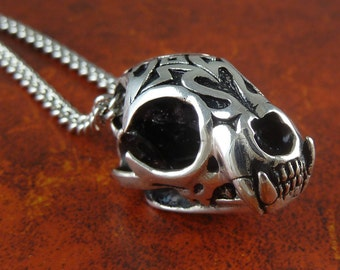 "Wild Cat Skull Necklace Antique Silver Lynx Skull Pendant with Tribal Design on 24"" Antique Silver Chain"