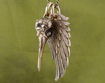 """Angel Wing and Bird Skull Necklace Bronze Hummingbird and Wing Pendant on 24"""" Antique Bronze Chain"""