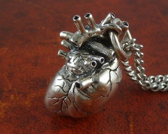 "Sterling Silver Heart Necklace - Anatomical Heart Pendant on 24"" Antique Silver Chain"