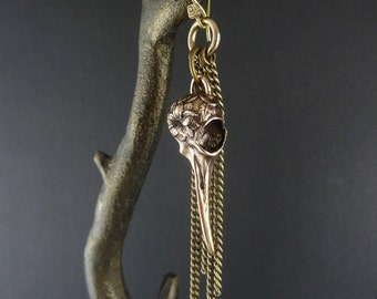 Hummingbird Earring Bronze Bird Skull Earring with Antique Bronze Chains - Hummingbird Skull