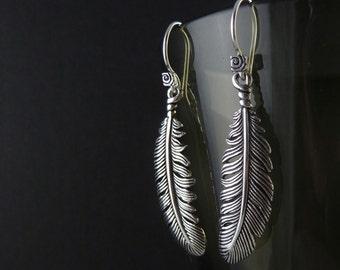 Feather Earrings Antique Silver Feather Earrings