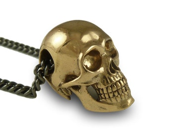 """Father's Day Gift - Human Skull Necklace - Bronze Human Skull Pendant on 24"""" Gunmetal Chain - Mens Skull Necklace"""