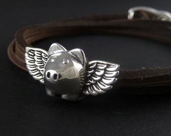 Flying Pig Bracelet Antique Silver Flying Pig Leather Bracelet