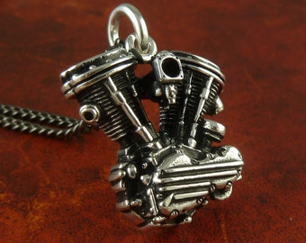 """Motorcycle Engine Necklace Antique Silver Harley Davidson Panhead V Twin Pendant on 24"""" Gunmetal Chain"""