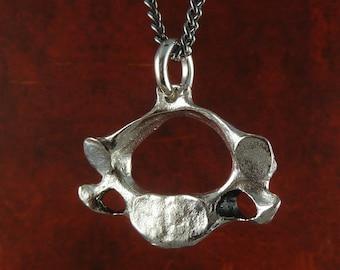 "Vertebrae Necklace Antique Silver Human Vertebra Pendant on 24"" Gunmetal Chain - Anatomical Jewelry"