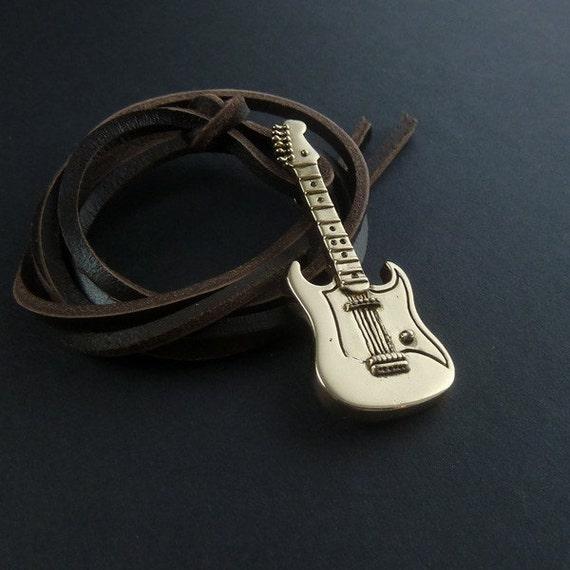 Guitar Necklace Fender - Bronze Pendant on Leather