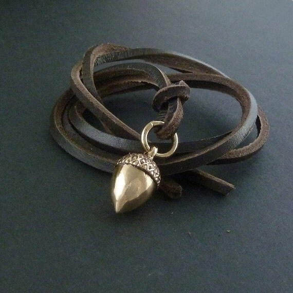 Acorn Necklace Bronze Acorn Pendant on Leather