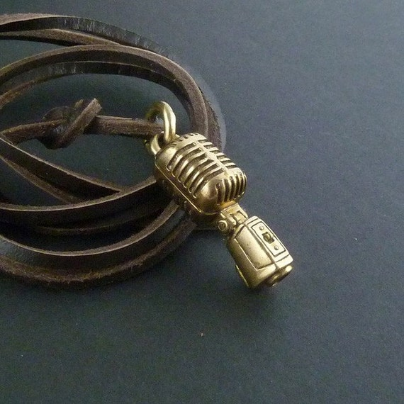 Microphone Necklace Bronze Microphone Pendant on Leather