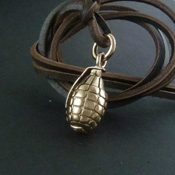 grenade necklace bronze grenade pendant on leather