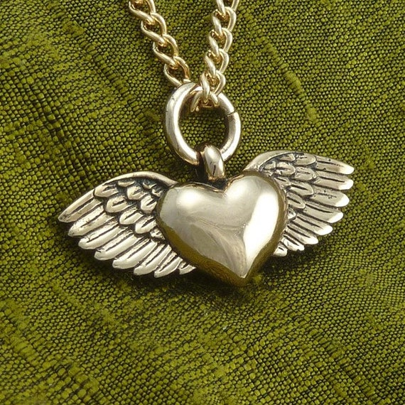 "Winged Heart Necklace Bronze Flying Heart Pendant on 24"" Gold Plated Chain - Valentines Day"