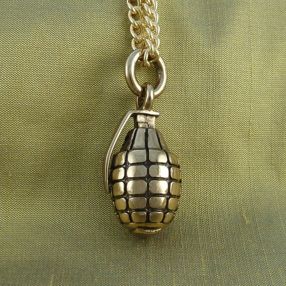 bomb necklace grenade necklace bronze pendant on 24